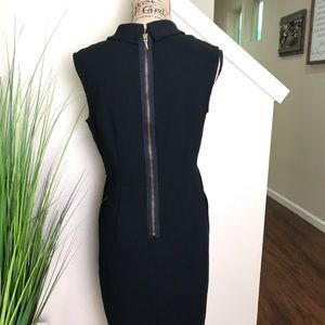 LOFT Dresses - LOFT black dress, collar, exposed zipper, & cowl n